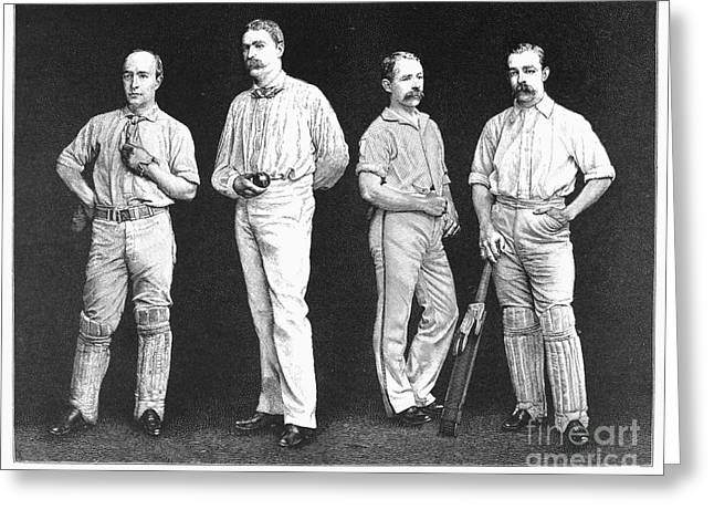 American Cricketers Greeting Cards - Cricket Players, 1889 Greeting Card by Granger