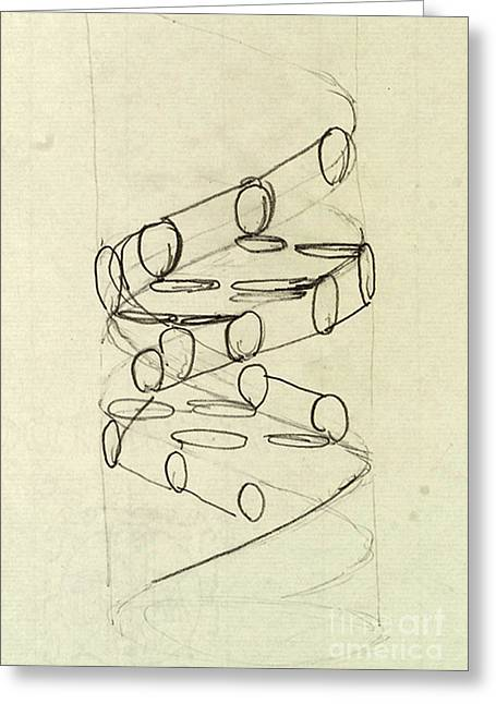 Molecular Structure Greeting Cards - Cricks Original Dna Sketch Greeting Card by Science Source
