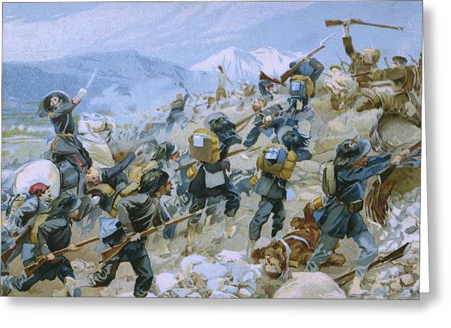 Charging Horses Greeting Cards - Crimean War and The Battle of Chernaya Greeting Card by Italian School
