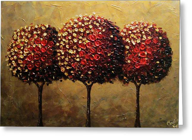 Contemporary Art By Christine Greeting Cards - Crimson Companions Greeting Card by Christine Krainock