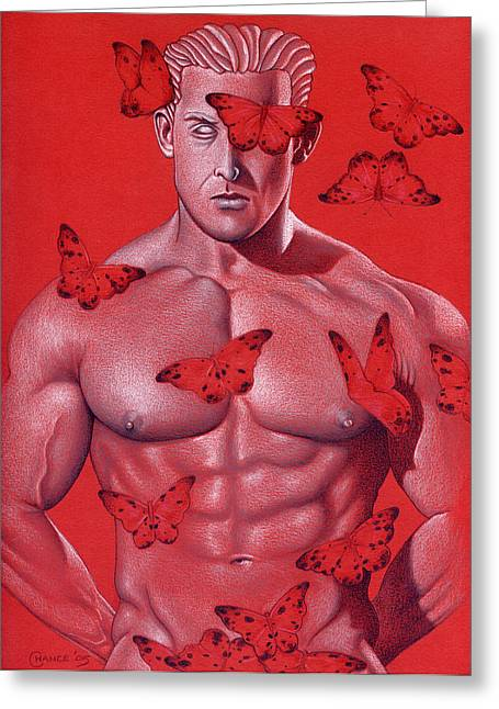 Male Forms Greeting Cards - Crimson Flight Greeting Card by Chance Manart