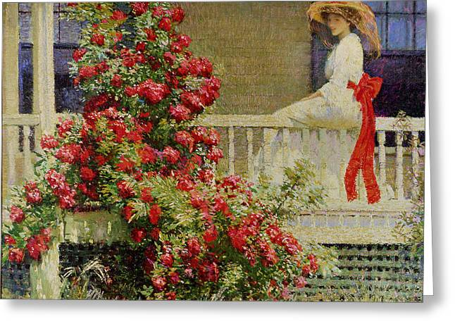 Blooming Paintings Greeting Cards - Crimson Rambler Greeting Card by Philip Leslie Hale