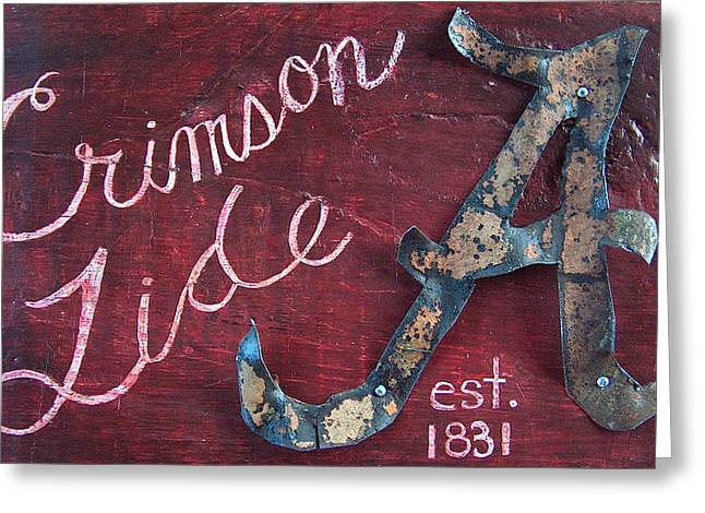 Crimson Tide Mixed Media Greeting Cards - Crimson Tide Greeting Card by Racquel Morgan