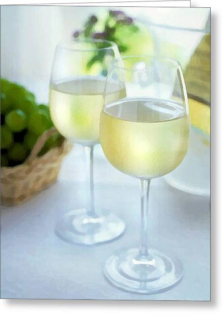 Sparkling Wines Digital Greeting Cards - Crisp Whites Greeting Card by Elaine Plesser