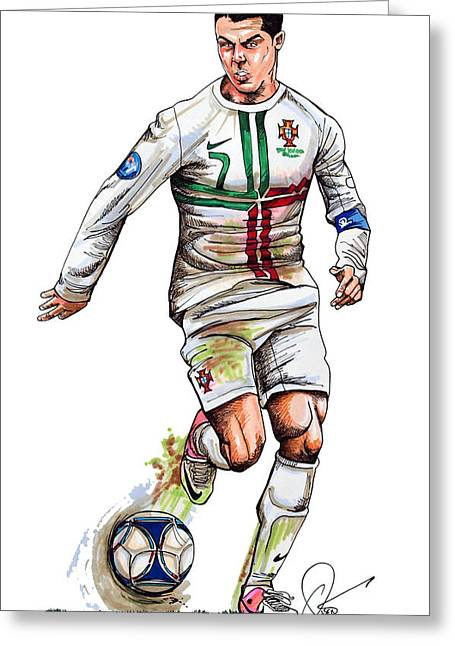Olympics Drawings Greeting Cards - Cristiano Ronaldo Greeting Card by Dave Olsen