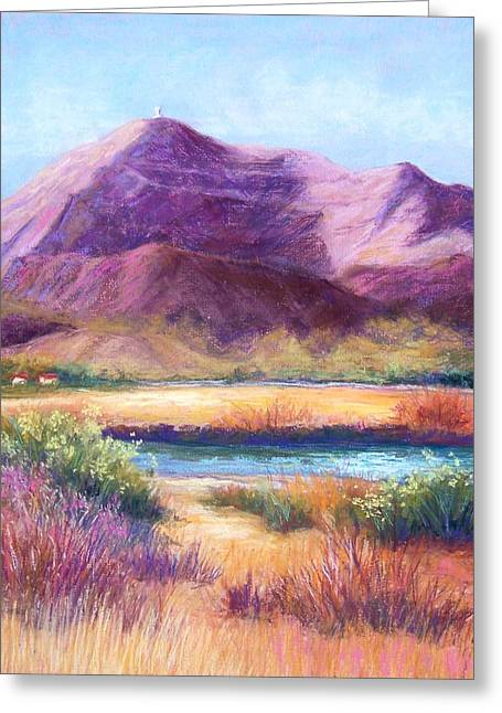Purples Pastels Greeting Cards - Cristo Rey in Autumn Greeting Card by Candy Mayer