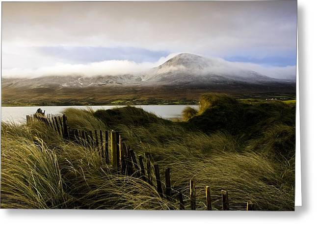 Snow Scene Landscape Greeting Cards - Croagh Patrick, County Mayo, Ireland Greeting Card by Peter McCabe