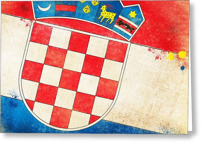 Frame Pastels Greeting Cards - Croatia Flag Greeting Card by Setsiri Silapasuwanchai