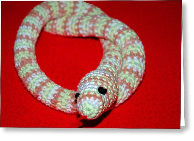 Crochet Snake In Red Greeting Card by LeeAnn McLaneGoetz McLaneGoetzStudioLLCcom