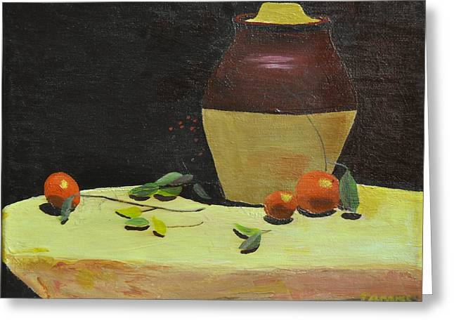 Crock With Fruit Greeting Card by Tom Amiss