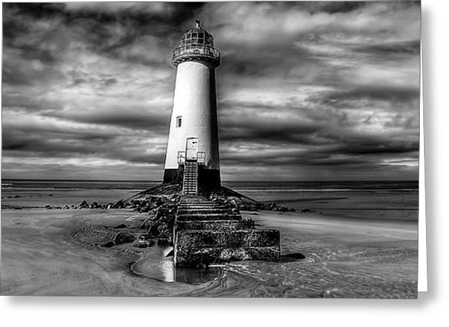 Black And White Hdr Greeting Cards - Crooked Lighthouse Greeting Card by Adrian Evans