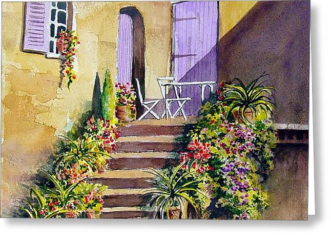 Crooked Steps and Purple Doors Greeting Card by Sam Sidders