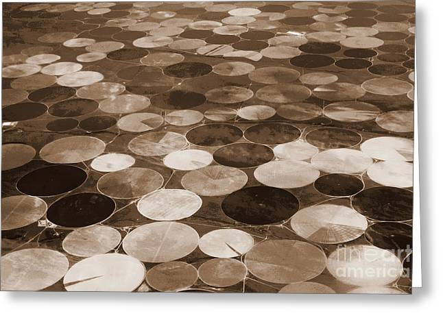 Geometric Digital Art Photographs Greeting Cards - Crop Circles in Sepia - Digital Art Greeting Card by Carol Groenen