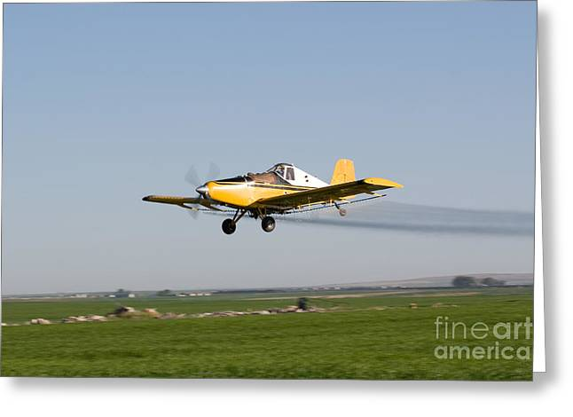 Idaho Photographer Greeting Cards - Crop Duster Flying Over Farm  Greeting Card by Cindy Singleton