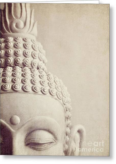 Neutral Colours Greeting Cards - Cropped stone Buddha head statue Greeting Card by Lyn Randle
