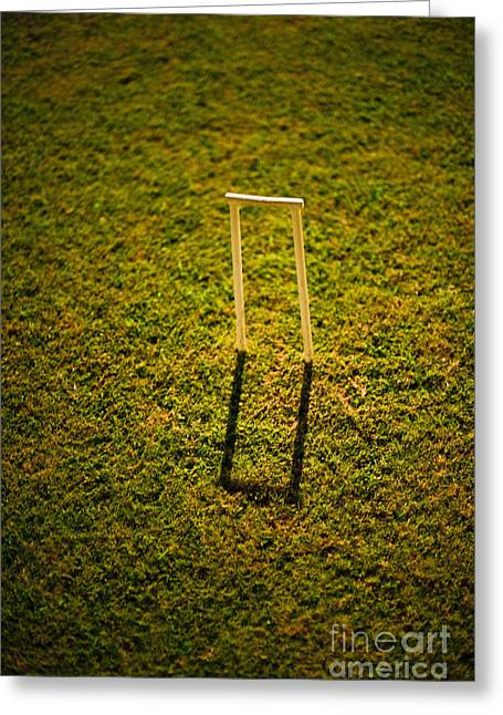 Casting A Shadow Greeting Cards - Croquet Wicket Casting a Shadow Greeting Card by Thom Gourley/Flatbread Images, LLC