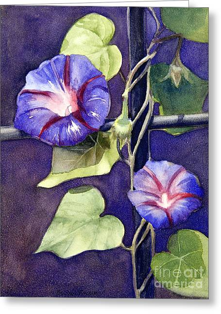 Morning Glories Greeting Cards - Cross and Glory Greeting Card by Bonnie Rinier