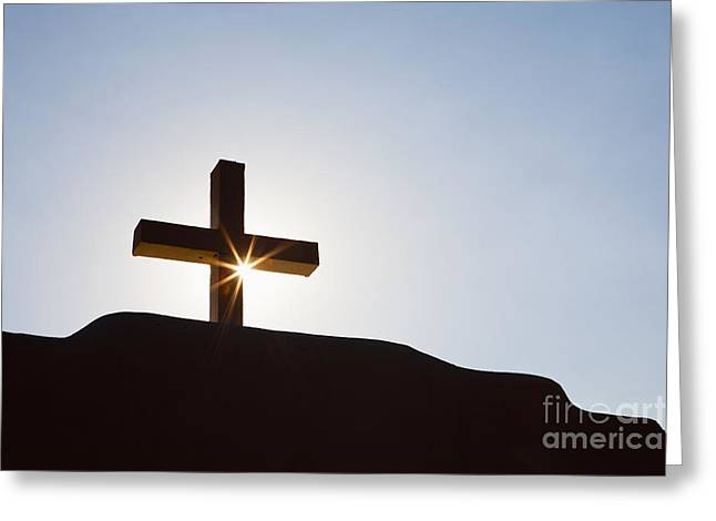 Taos Greeting Cards - Cross and Sunburst Greeting Card by Bryan Mullennix