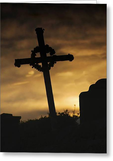 Belief Systems Greeting Cards - Cross At Sunset Greeting Card by John Short