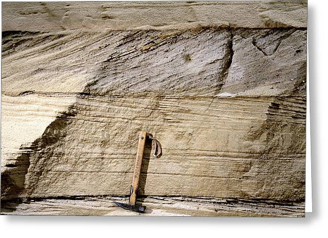 Rock Hammer Greeting Cards - Cross-bedded Sand Layers Greeting Card by Dirk Wiersma