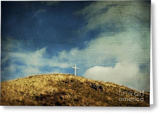 Crucifix Greeting Cards - Cross Greeting Card by Bernard Jaubert