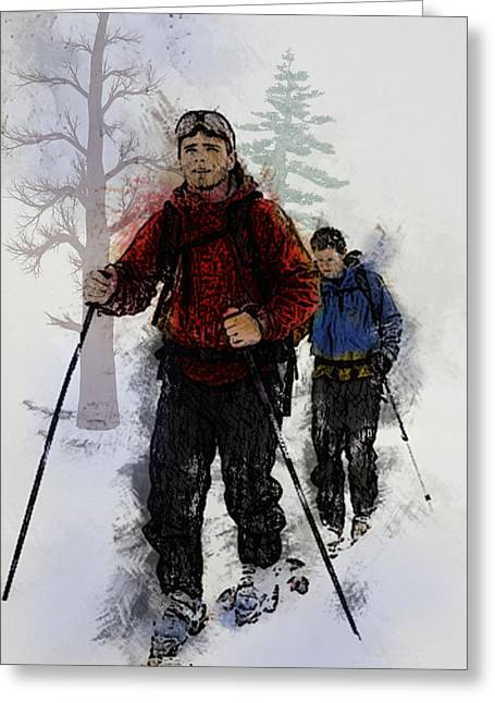Freestyle Skiing Greeting Cards - Cross Country Skiers Greeting Card by Elaine Plesser