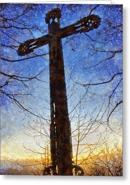Christ work Digital Greeting Cards - Cross - Crucifix Greeting Card by Matthias Hauser