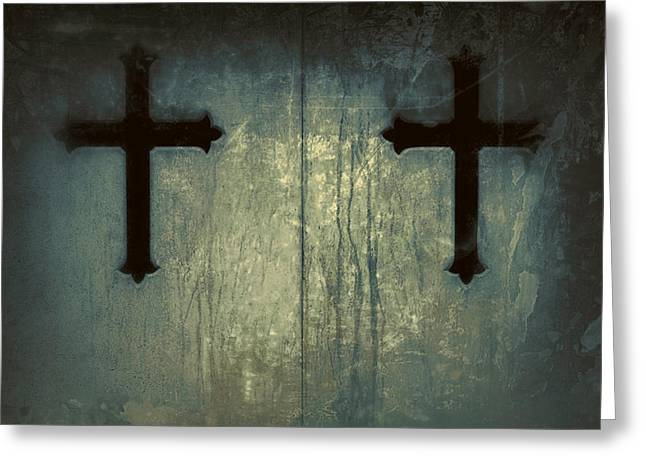 Gothic Cross Greeting Cards - Cross Duet On Door Greeting Card by Tony Grider