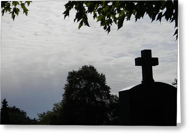 Cross On The Grave Greeting Cards - Cross in the Sky Greeting Card by Brett Reginald