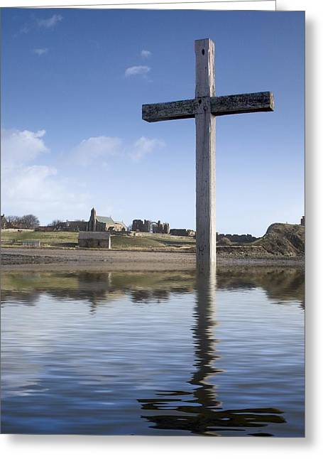 Sacred Greeting Cards - Cross In Water, Bewick, England Greeting Card by John Short