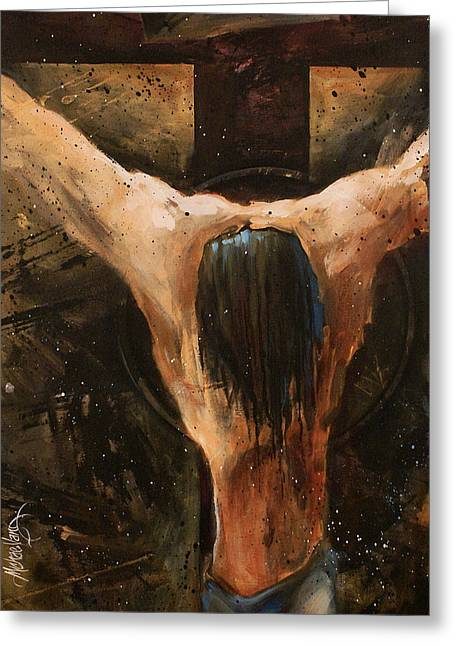 Crucifix Greeting Cards - Cross Greeting Card by Michael Lang