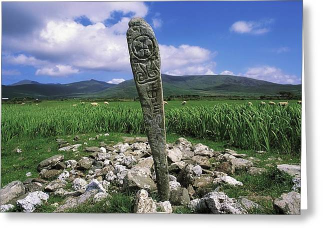 Wood Carving Greeting Cards - Cross Slab, Dingle Peninsula, Co Kerry Greeting Card by The Irish Image Collection