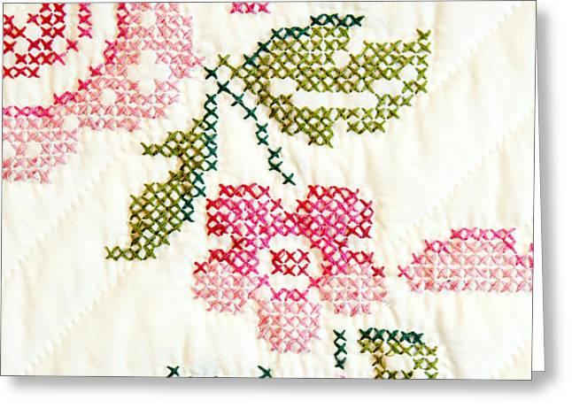 Cross Stitch Flower 1 Greeting Card by Marilyn Hunt