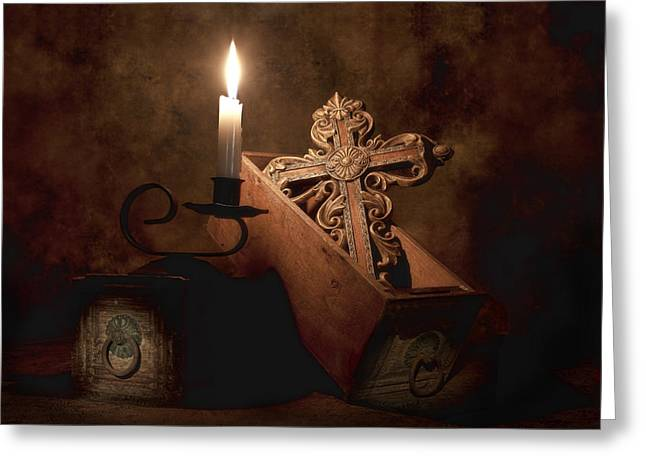 Candlelight Greeting Cards - Cross Greeting Card by Tom Mc Nemar