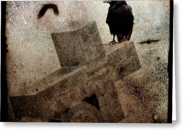 Gothicrow Greeting Cards - Cross With Crow Greeting Card by Gothicolors Donna Snyder