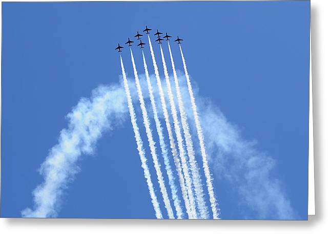 Gallantry Greeting Cards - Crossbow - 9 Red Arrows White Smoke Crossbow Greeting Card by Pedro Cardona