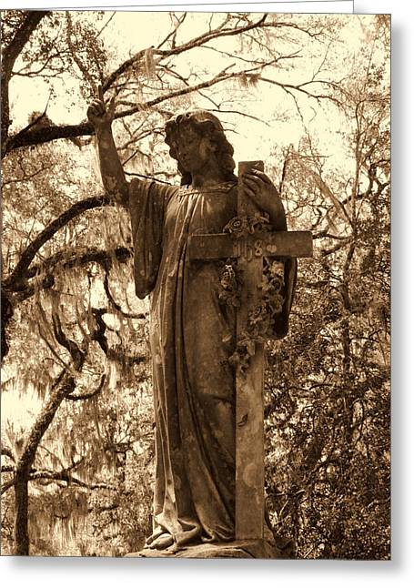 Rest Sculptures Greeting Cards - Crossing Angel Greeting Card by Gina Longo