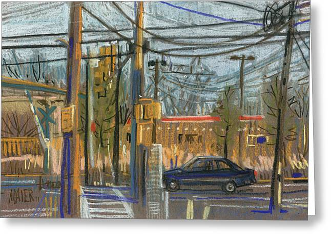 Plein Air Pastels Greeting Cards - Crossing at Sandy Pleins Greeting Card by Donald Maier