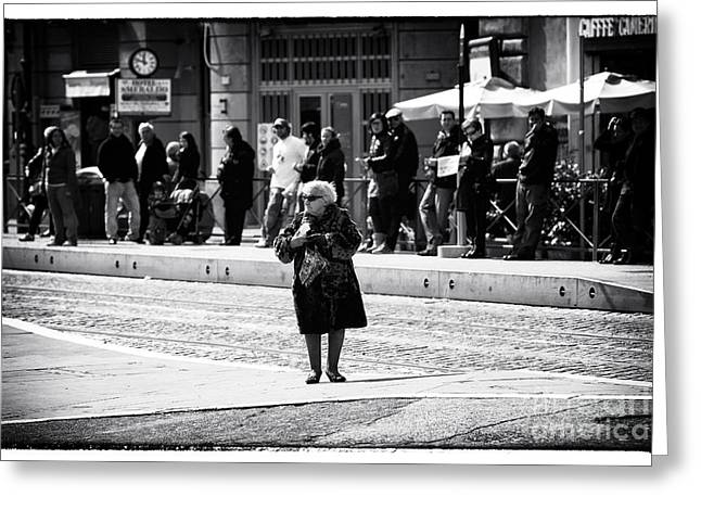 Photo Art Gallery Greeting Cards - Crossing in Rome Greeting Card by John Rizzuto