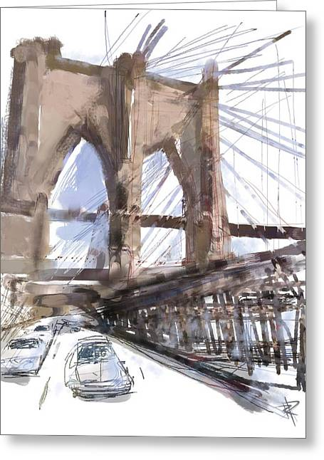 Brick Mixed Media Greeting Cards - Crossing Over Greeting Card by Russell Pierce