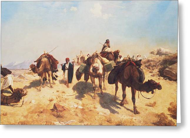 Camel Greeting Cards - Crossing the Desert Greeting Card by Jean Leon Gerome
