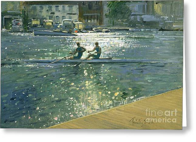 Rowers Paintings Greeting Cards - Crossing the Light Break - Henley Greeting Card by Timothy Easton