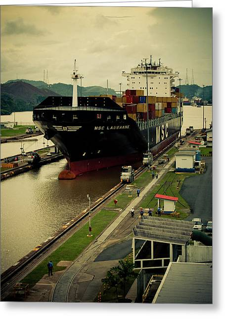 Panama Greeting Cards - Crossing the Panama Canal Greeting Card by Iris Greenwell