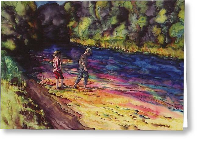 Child Tapestries - Textiles Greeting Cards - Crossing the Stream Greeting Card by Carolyn Doe