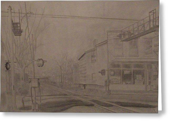 Small Towns Drawings Greeting Cards - Crossing Greeting Card by Tyler Hardin
