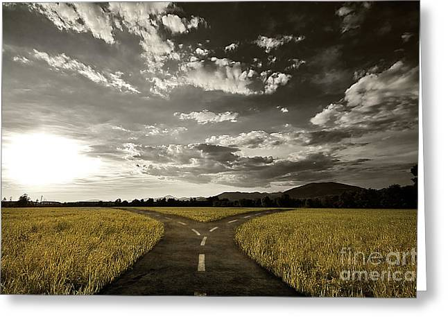 Undecided Greeting Cards - Crossroad Greeting Card by Giordano Aita