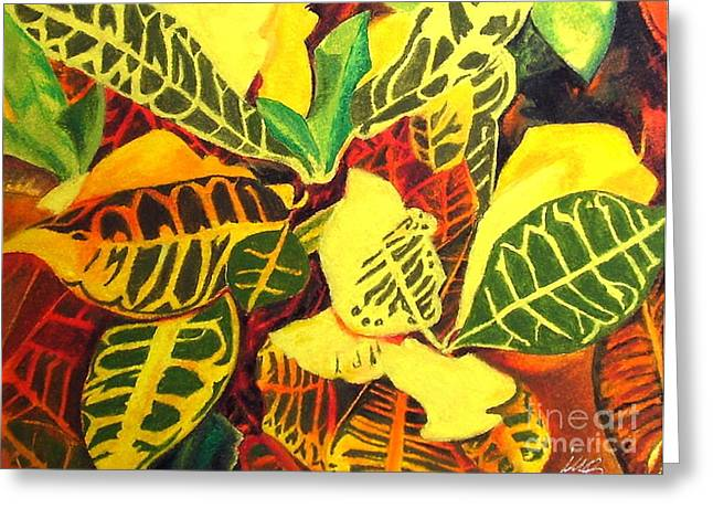 Petra Drawings Greeting Cards - Croton Joy Greeting Card by Iris M Gross