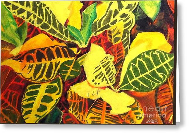 Croton Joy Greeting Card by Iris M Gross