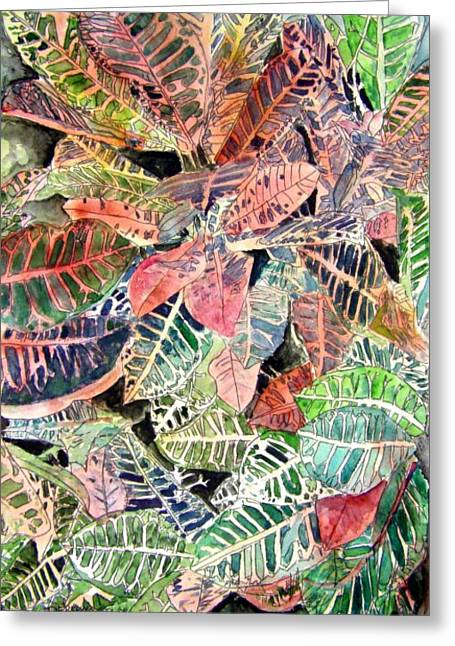 Abstract Beach Landscape Drawings Greeting Cards - Croton tropical art print Greeting Card by Derek Mccrea