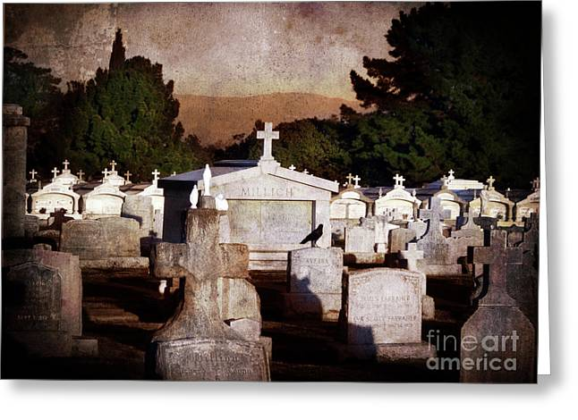 Cemetery Greeting Cards - Crow Among the Stones Greeting Card by Laura Iverson